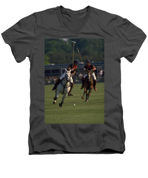 Prince Charles Playing Polo Men's V-Neck T-Shirt