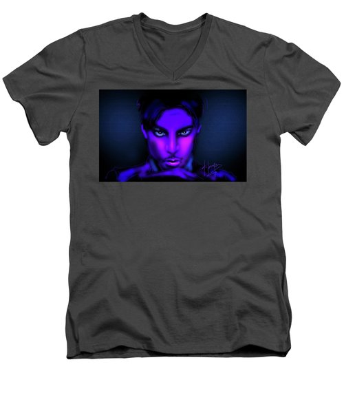 Men's V-Neck T-Shirt featuring the painting Prince by DC Langer