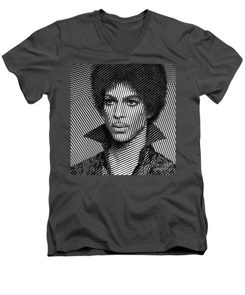 Prince - Tribute In Black And White Sketch Men's V-Neck T-Shirt