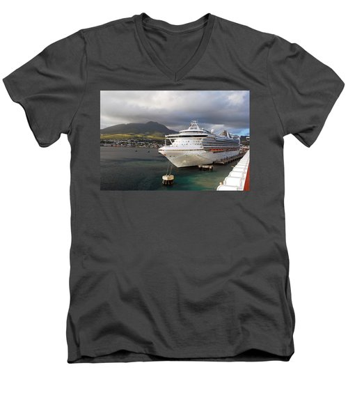 Princess Emerald Docked At Barbados Men's V-Neck T-Shirt