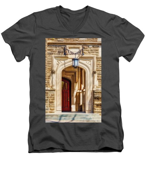 Men's V-Neck T-Shirt featuring the photograph Princeton University 1901 Laughlin Hall by Susan Candelario