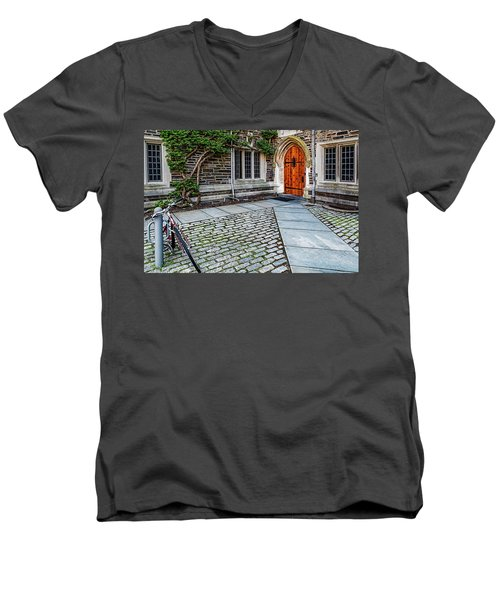 Men's V-Neck T-Shirt featuring the photograph Princeton University Foulke Hall by Susan Candelario