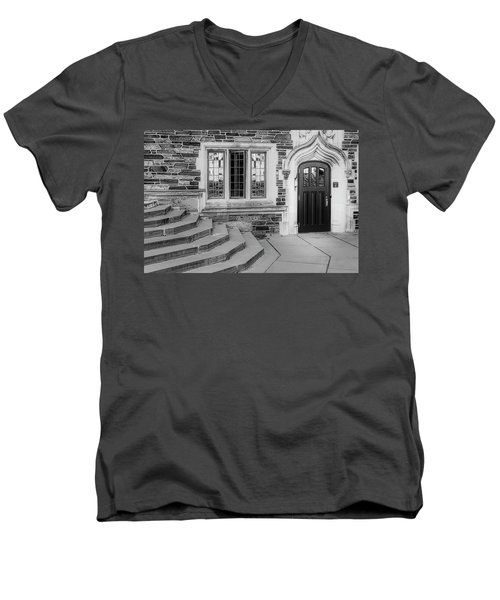 Men's V-Neck T-Shirt featuring the photograph Princeton University Lockhart Hall Bw by Susan Candelario