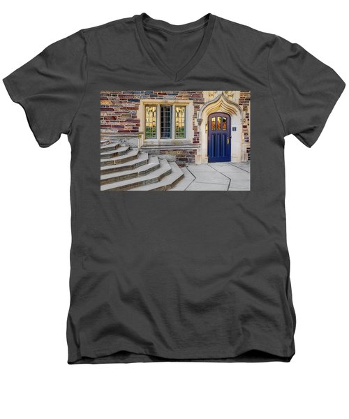 Men's V-Neck T-Shirt featuring the photograph Princeton University Lockhart Hall by Susan Candelario