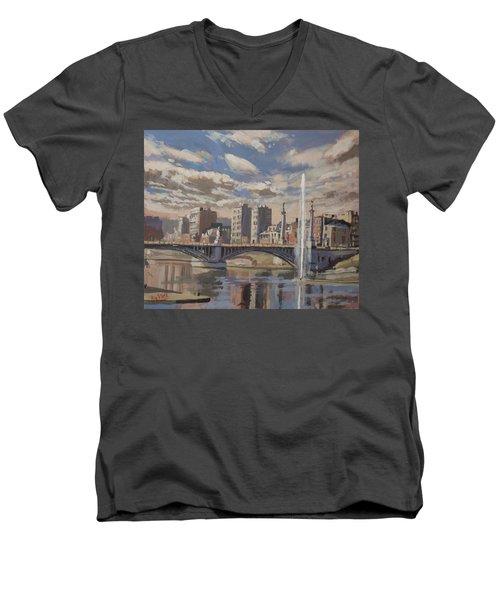 Printemps Sur Le Pont Fragnee Liege Men's V-Neck T-Shirt by Nop Briex