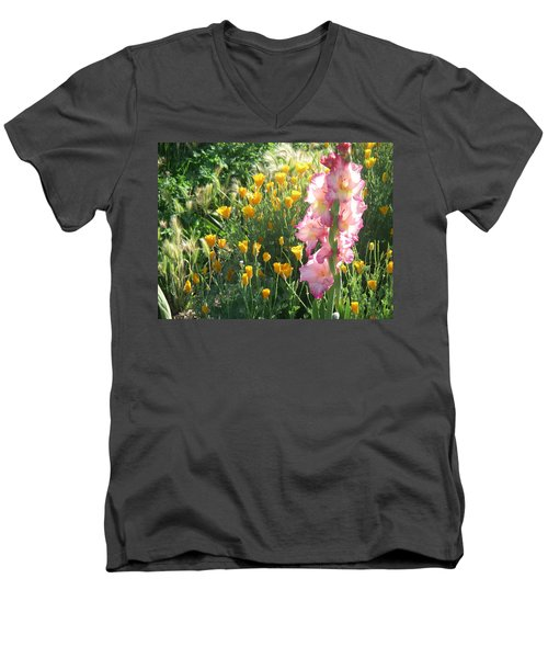 Priscilla With Poppies Men's V-Neck T-Shirt