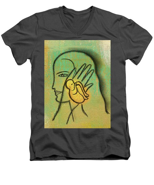 Men's V-Neck T-Shirt featuring the painting Pro Abortion Or Pro Choice? by Leon Zernitsky