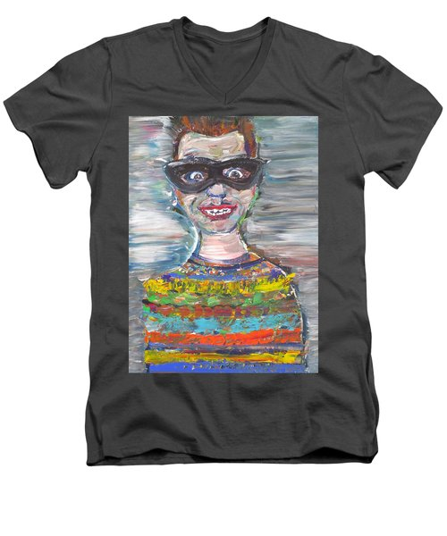Men's V-Neck T-Shirt featuring the painting Probably Reincarnated by Fabrizio Cassetta