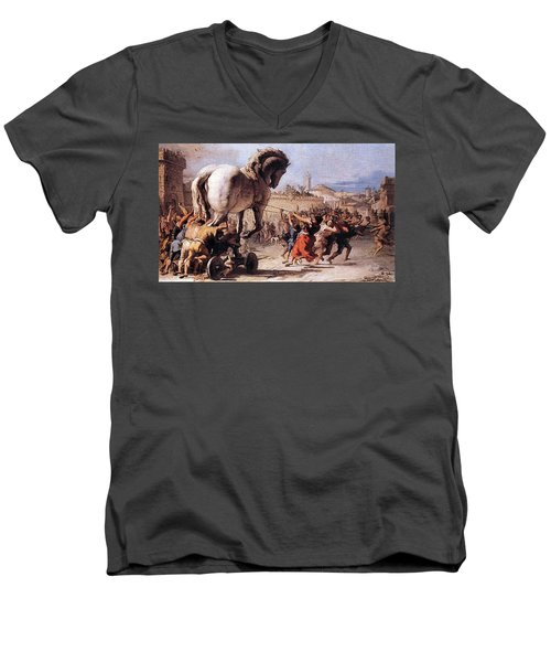 Procession Of The Trojan Horse  Men's V-Neck T-Shirt