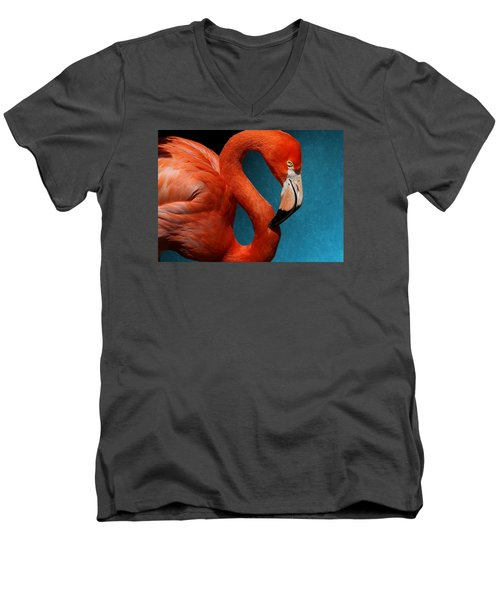 Profile Of An American Flamingo Men's V-Neck T-Shirt