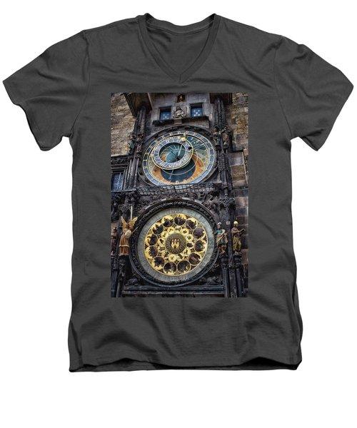 Progue Astronomical Clock Men's V-Neck T-Shirt
