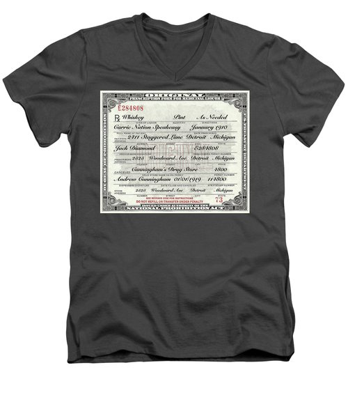 Men's V-Neck T-Shirt featuring the photograph Prohibition Prescription Certificate Carrie Nation Speakeasy by David Patterson