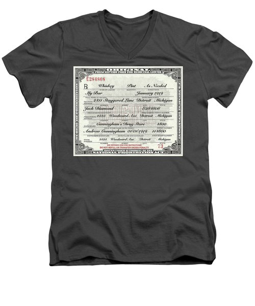 Men's V-Neck T-Shirt featuring the photograph Prohibition Prescription Certificate My Bar, by David Patterson