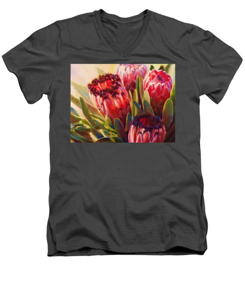 Men's V-Neck T-Shirt featuring the painting Protea - Tropical Flowers From Hawaii by Karen Whitworth