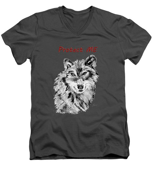 Protect Me - Wolf Art By Valentina Miletic Men's V-Neck T-Shirt by Valentina Miletic