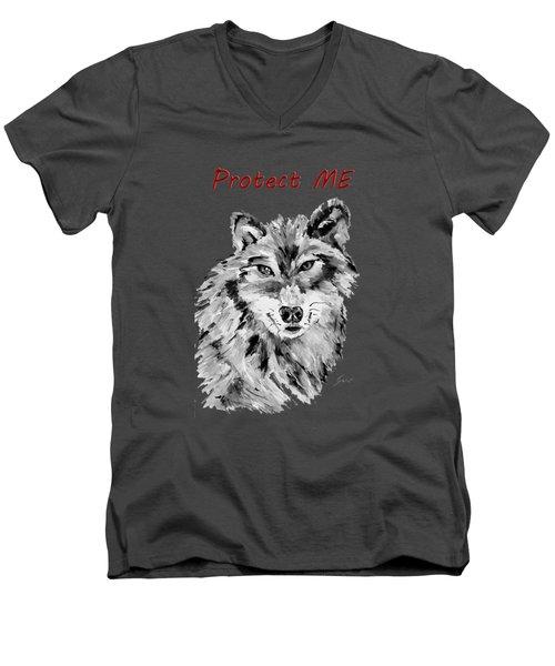 Protect Me - Wolf Art By Valentina Miletic Men's V-Neck T-Shirt