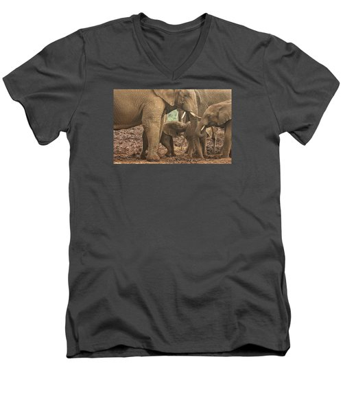 Men's V-Neck T-Shirt featuring the photograph Protecting The Babies by Gary Hall