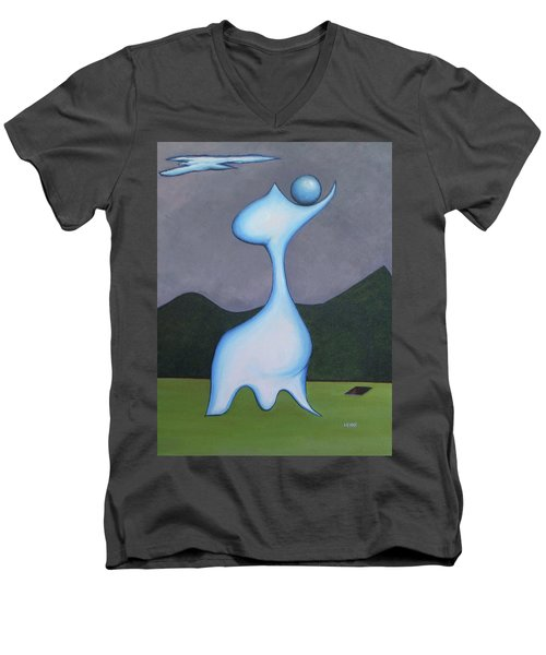 Men's V-Neck T-Shirt featuring the painting Protector by Robert Henne