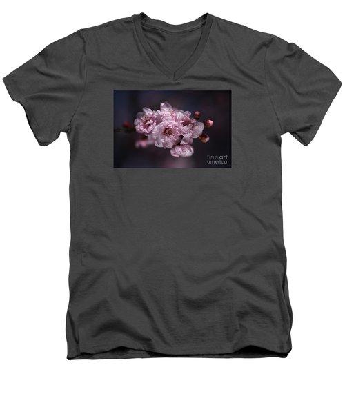 Prunus A Pink Spring Men's V-Neck T-Shirt by Joy Watson