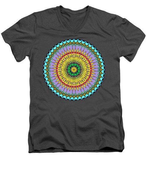 Psychedelic Mandala 005 A Men's V-Neck T-Shirt by Larry Capra