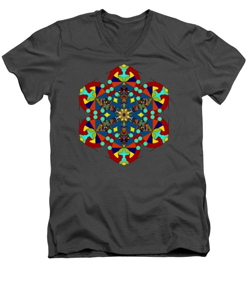 Psychedelic Mandala 007 A Men's V-Neck T-Shirt by Larry Capra