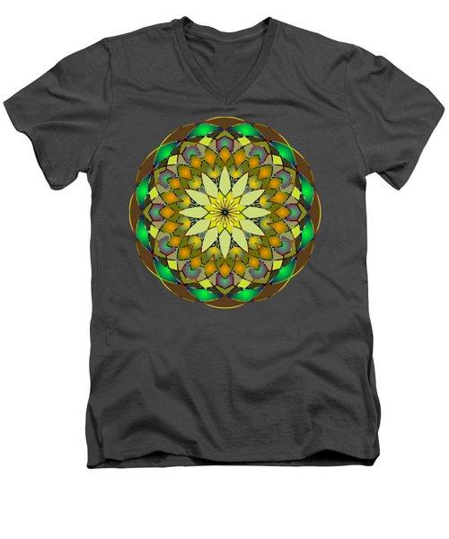 Psychedelic Mandala 008 A Men's V-Neck T-Shirt by Larry Capra