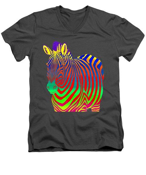 Psychedelic Rainbow Zebra Men's V-Neck T-Shirt
