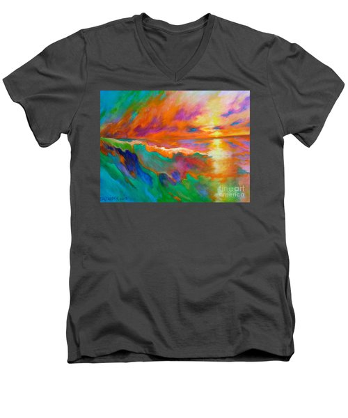 Men's V-Neck T-Shirt featuring the painting Psychedelic Sea by Alison Caltrider