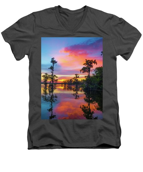 Psychedelic Swamp Men's V-Neck T-Shirt by Kimo Fernandez