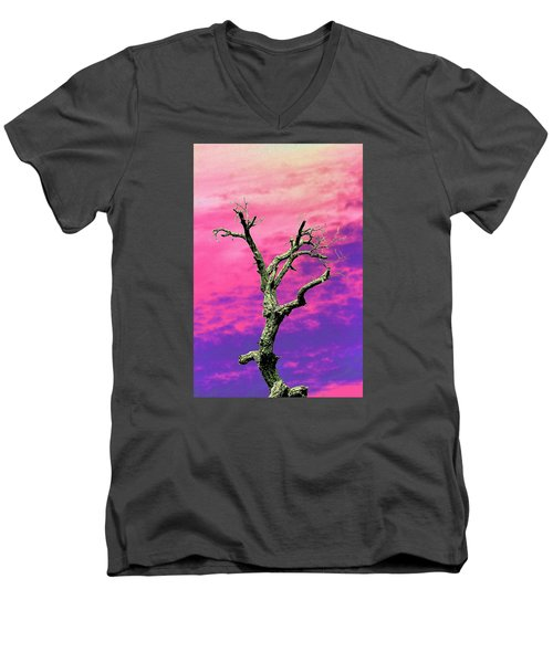 Psychedelic Tree Men's V-Neck T-Shirt by Richard Patmore