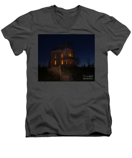Psycho House-bates Motel Men's V-Neck T-Shirt by Jim  Hatch
