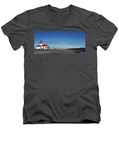 Pt Robinson Lighthouse 2, Maury Island, Washington Men's V-Neck T-Shirt