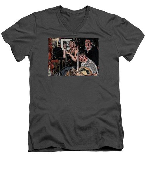 Pub Scene Three Men's V-Neck T-Shirt by Dave Luebbert