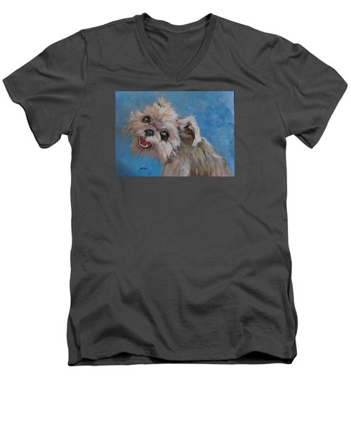 Pudgy Smiles Men's V-Neck T-Shirt by Barbara O'Toole