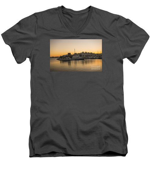 Puerto Banus In Marbella At Sunset. Men's V-Neck T-Shirt by Perry Van Munster