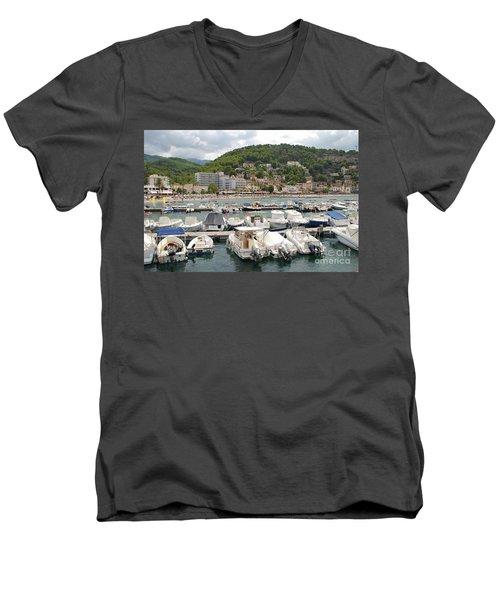 Puerto De Soller In Majorca Men's V-Neck T-Shirt