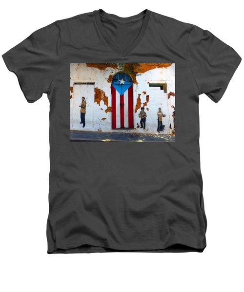 Puerto Rican Flag On Wooden Door Men's V-Neck T-Shirt