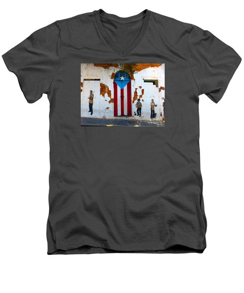 Puerto Rican Flag On Wooden Door Men's V-Neck T-Shirt