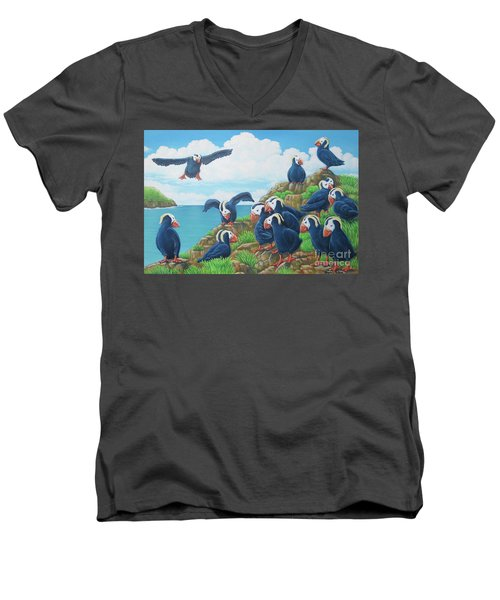 Puffins Men's V-Neck T-Shirt