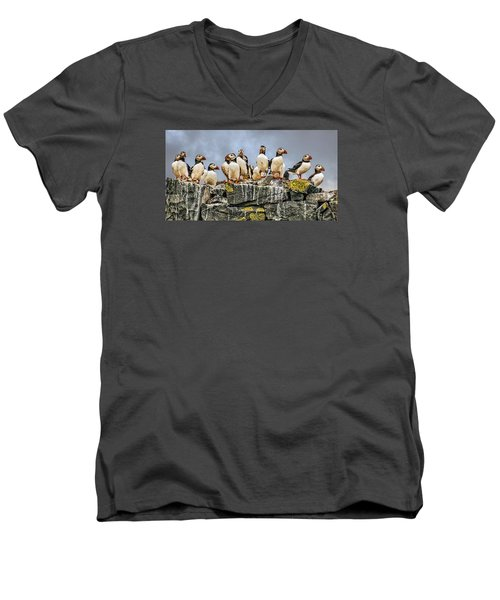 Men's V-Neck T-Shirt featuring the photograph Puffin's Rock by Brian Tarr