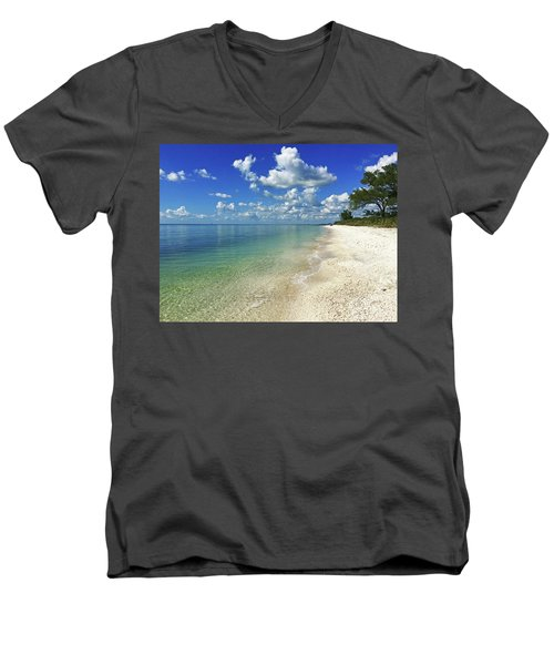 Puffy White Clouds At Delnor-wiggins Men's V-Neck T-Shirt