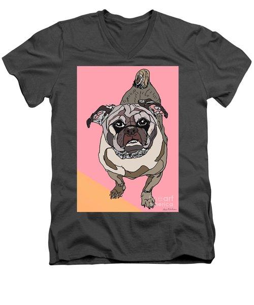 Pug In Digi Men's V-Neck T-Shirt