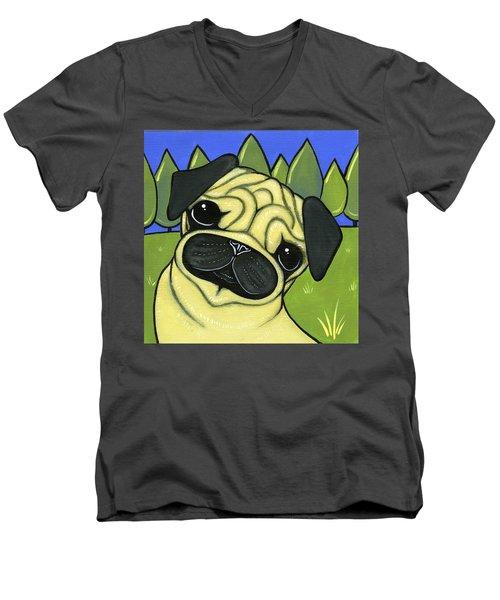 Pug Men's V-Neck T-Shirt by Leanne Wilkes