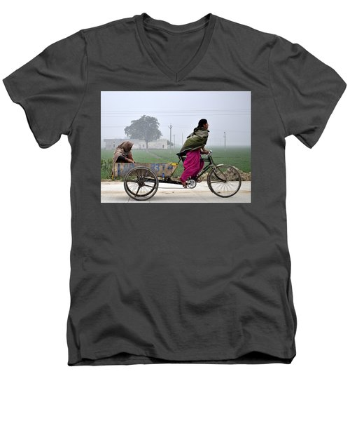 Men's V-Neck T-Shirt featuring the photograph Pull Of Life by Bliss Of Art