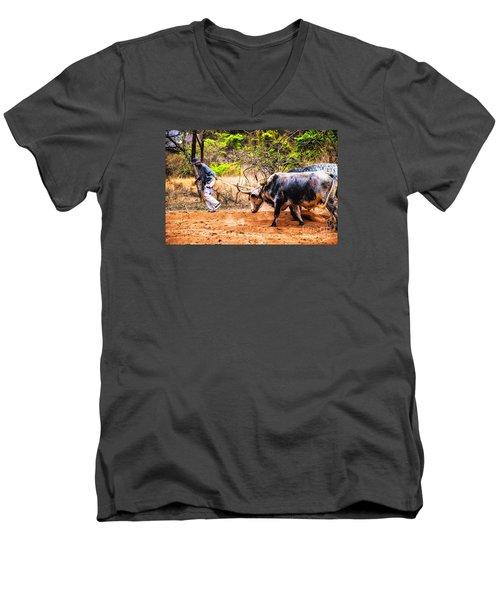 Pulling The Beasts Men's V-Neck T-Shirt by Rick Bragan