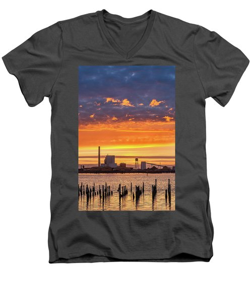 Men's V-Neck T-Shirt featuring the photograph Pulp Mill Sunset by Greg Nyquist