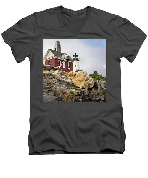 Pumphouse And Tower, Pemaquid Light, Bristol, Maine  -18958 Men's V-Neck T-Shirt by John Bald