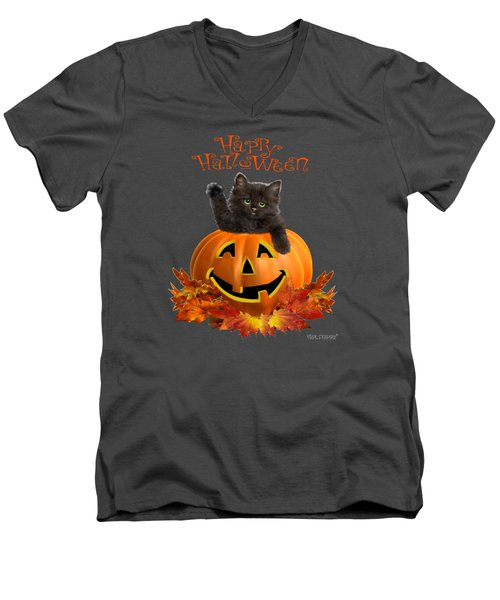 Pumpkin Kitty Men's V-Neck T-Shirt