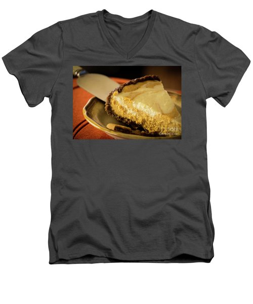Men's V-Neck T-Shirt featuring the photograph Pumpkin Pie Cheese Cake by Deborah Klubertanz