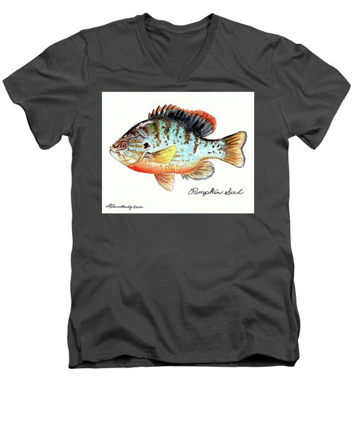 Men's V-Neck T-Shirt featuring the painting Pumpkin Seed Fish by LeAnne Sowa